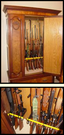 locking gun rack for gun cabinet